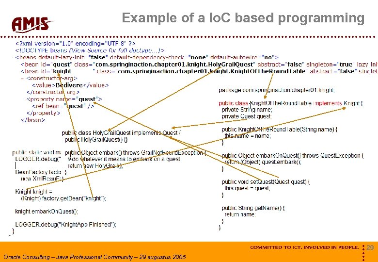 Example of a Io. C based programming Oracle Consulting – Java Professional Community –