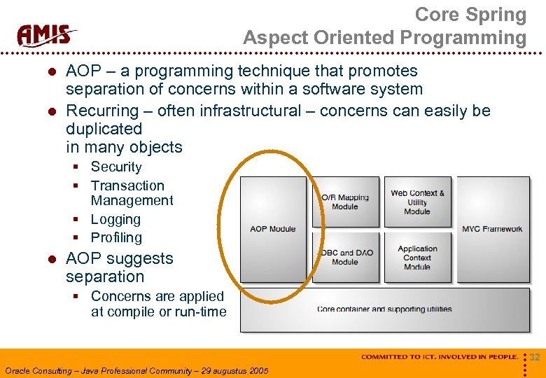 Core Spring Aspect Oriented Programming AOP – a programming technique that promotes separation of