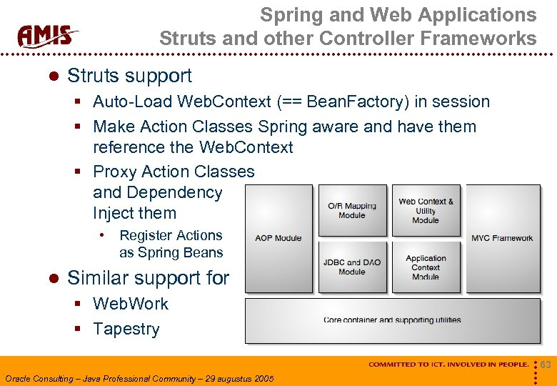 Spring and Web Applications Struts and other Controller Frameworks Struts support § Auto-Load Web.