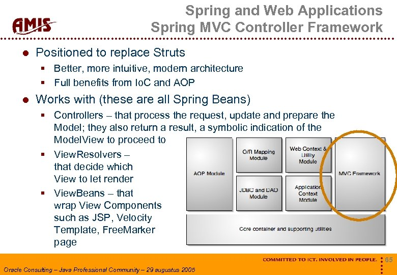 Spring and Web Applications Spring MVC Controller Framework Positioned to replace Struts § Better,