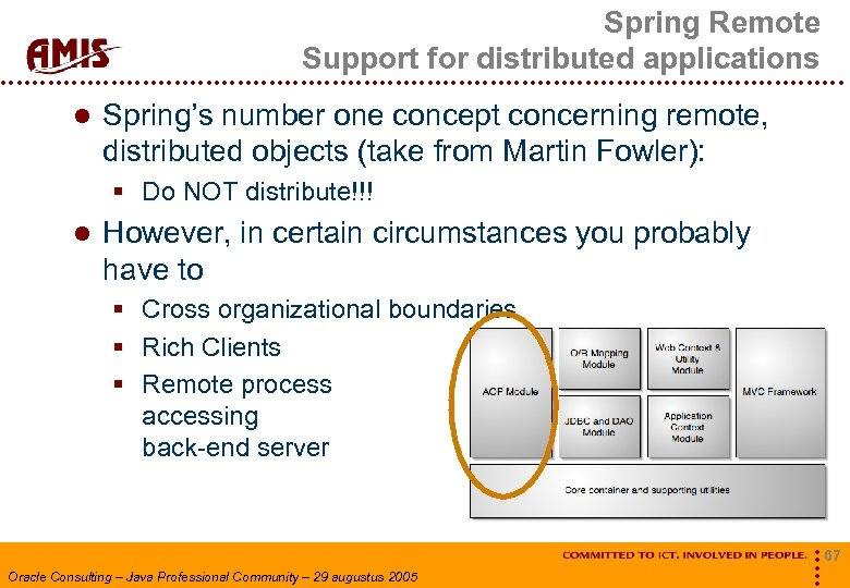 Spring Remote Support for distributed applications Spring's number one concept concerning remote, distributed objects
