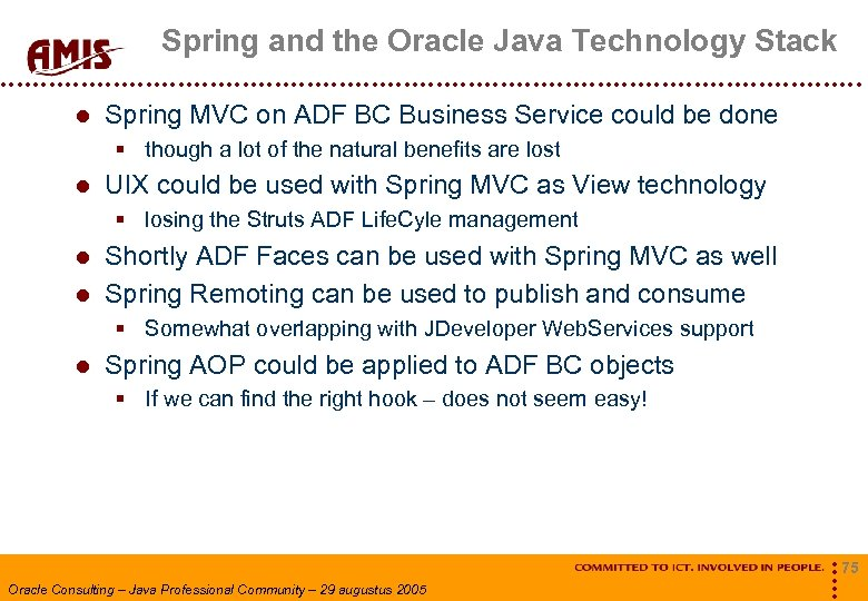 Spring and the Oracle Java Technology Stack Spring MVC on ADF BC Business Service