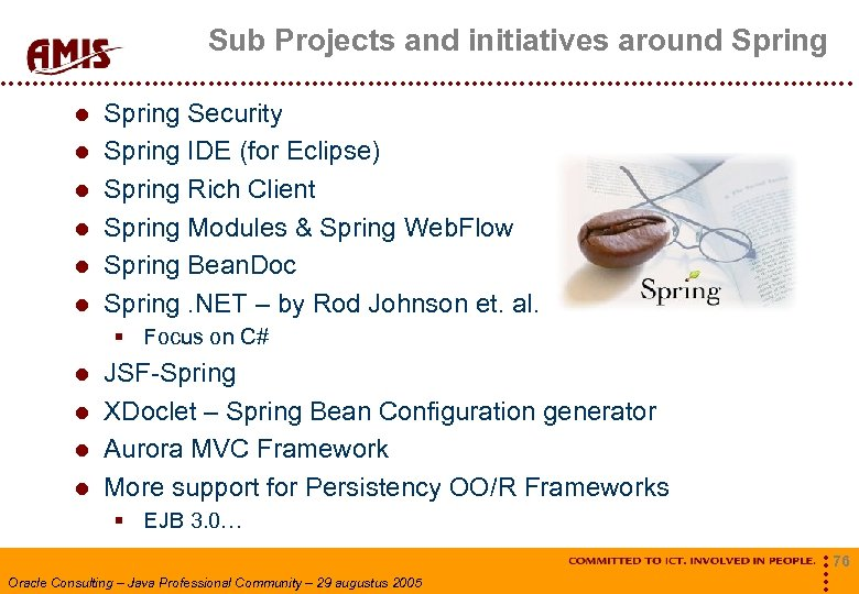Sub Projects and initiatives around Spring Spring Security Spring IDE (for Eclipse) Spring Rich