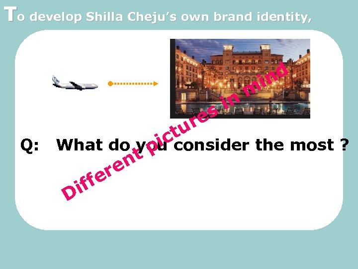 To develop Shilla Cheju's own brand identity, tu ic in es r nd i