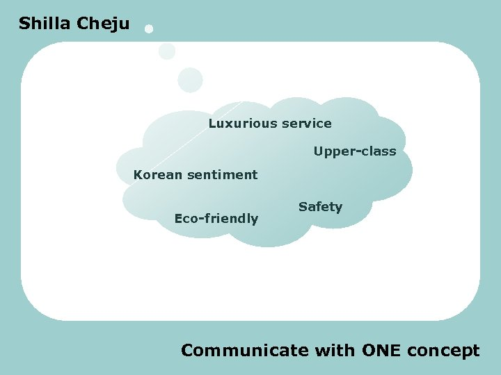 Shilla Cheju Luxurious service Upper-class Korean sentiment Eco-friendly Safety Communicate with ONE concept