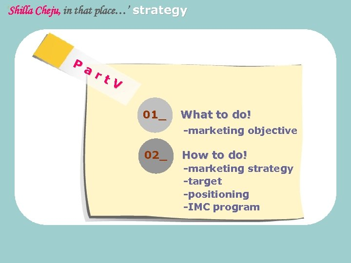 'Shilla Cheju, in that place…' strategy Pa rt V 01_ What to do! -marketing