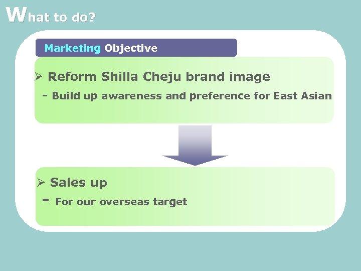 What to do? Marketing Objective Ø Reform Shilla Cheju brand image - Build up