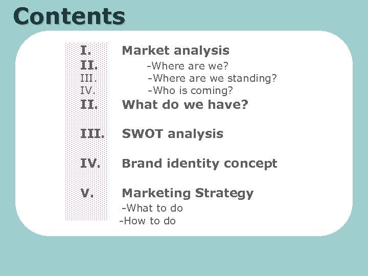 Contents I. II. Market analysis II. What do we have? III. SWOT analysis IV.