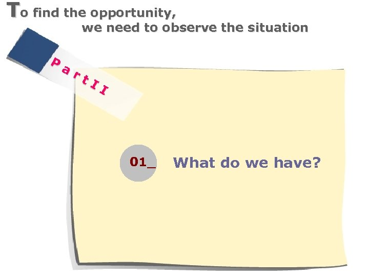 To find the opportunity, we need to observe the situation P ar t. I