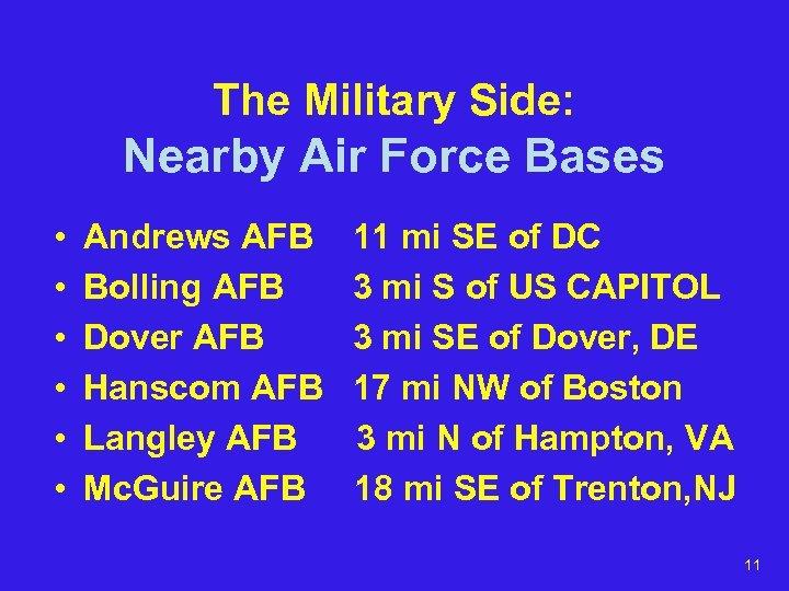 The Military Side: Nearby Air Force Bases • • • Andrews AFB Bolling AFB