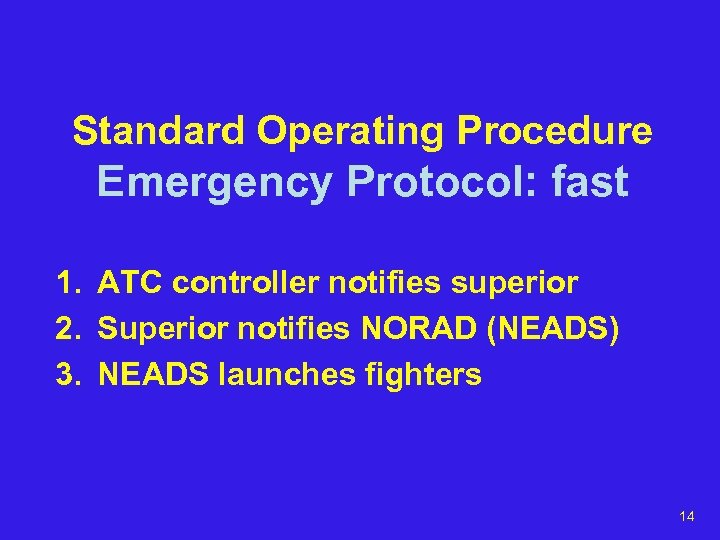 Standard Operating Procedure Emergency Protocol: fast 1. ATC controller notifies superior 2. Superior notifies
