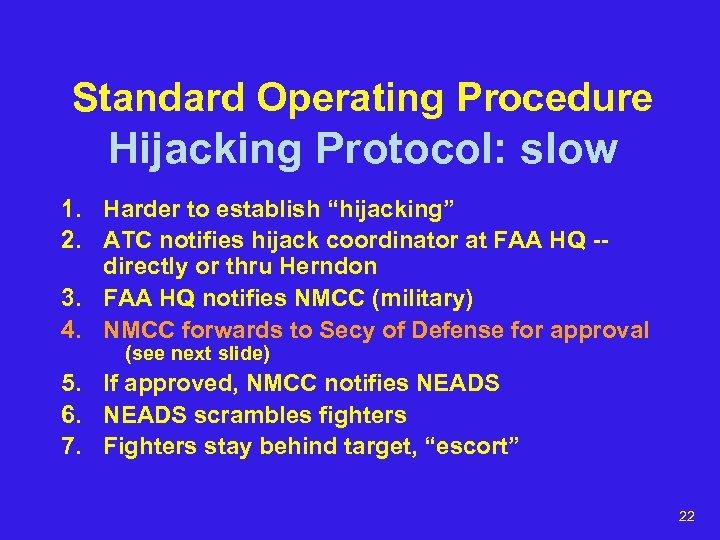 """Standard Operating Procedure Hijacking Protocol: slow 1. Harder to establish """"hijacking"""" 2. ATC notifies"""
