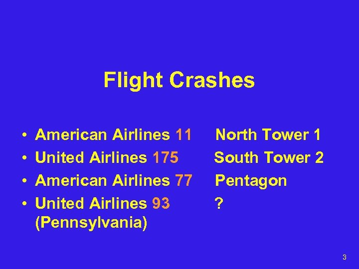 Flight Crashes • • American Airlines 11 United Airlines 175 American Airlines 77 United