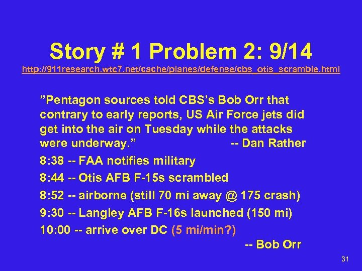 "Story # 1 Problem 2: 9/14 http: //911 research. wtc 7. net/cache/planes/defense/cbs_otis_scramble. html ""Pentagon"