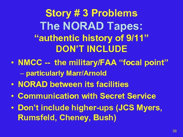 "Story # 3 Problems The NORAD Tapes: ""authentic history of 9/11"" DON'T INCLUDE •"