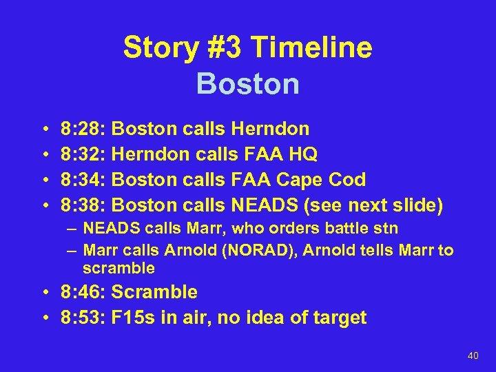 Story #3 Timeline Boston • • 8: 28: Boston calls Herndon 8: 32: Herndon