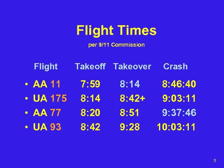 Flight Times per 9/11 Commission Flight • • AA 11 UA 175 AA 77