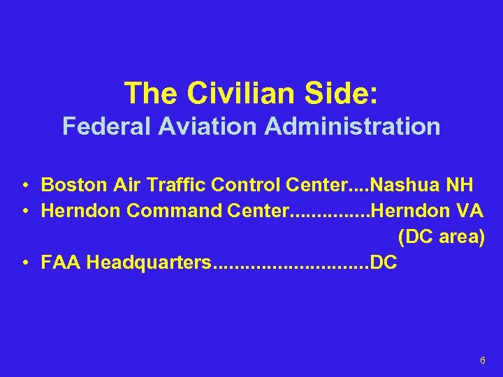 The Civilian Side: Federal Aviation Administration • Boston Air Traffic Control Center. . Nashua