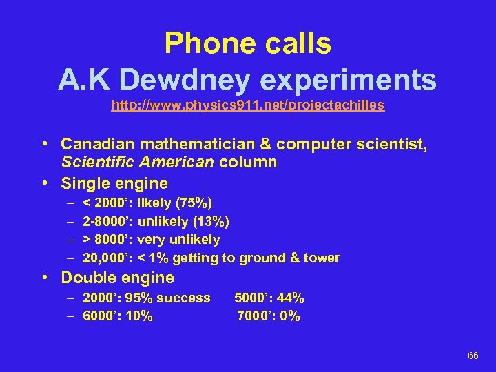 Phone calls A. K Dewdney experiments http: //www. physics 911. net/projectachilles • Canadian mathematician