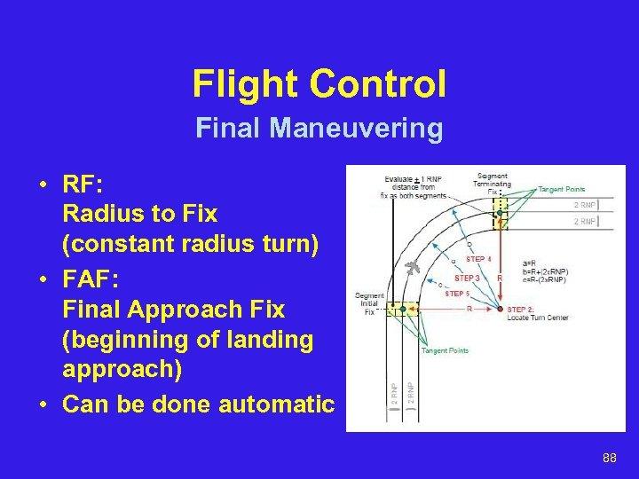 Flight Control Final Maneuvering • RF: Radius to Fix (constant radius turn) • FAF: