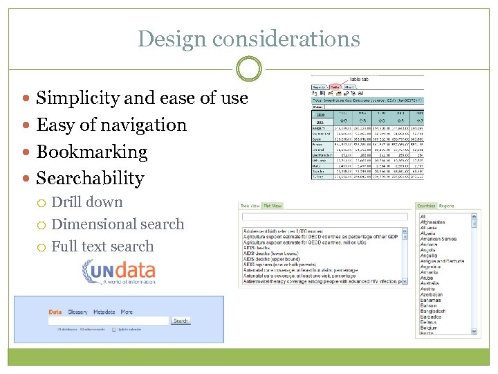 Design considerations Simplicity and ease of use Easy of navigation Bookmarking Searchability Drill down