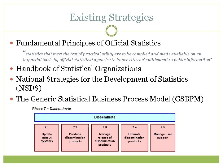 "Existing Strategies Fundamental Principles of Official Statistics ""statistics that meet the test of practical"