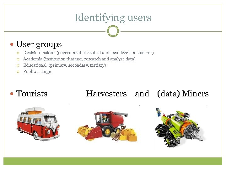 Identifying users User groups Decision makers (government at central and local level, businesses) Academia