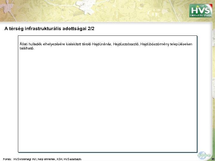 A térség infrastrukturális adottságai 2/2 Állati hulladék elhelyezésére kialakított tároló Hajdúnánás, Hajdúszoboszló, Hajdúböszörmény településeken