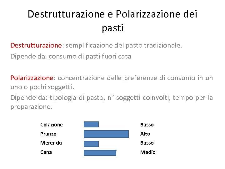 Destrutturazione e Polarizzazione dei pasti Destrutturazione: semplificazione del pasto tradizionale. Dipende da: consumo di