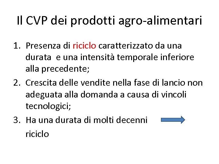 Il CVP dei prodotti agro-alimentari 1. Presenza di riciclo caratterizzato da una durata e