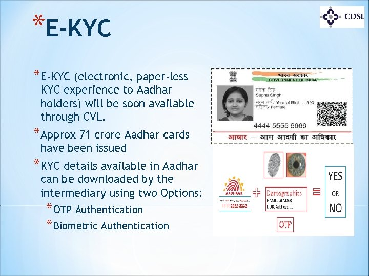*E-KYC (electronic, paper-less KYC experience to Aadhar holders) will be soon available through CVL.