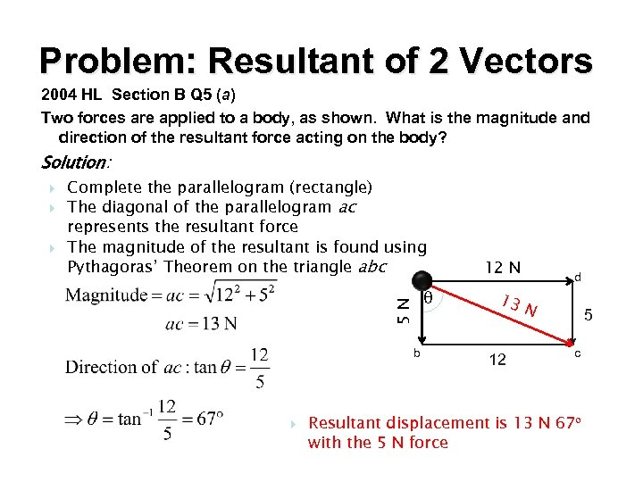 Problem: Resultant of 2 Vectors 2004 HL Section B Q 5 (a) Two forces