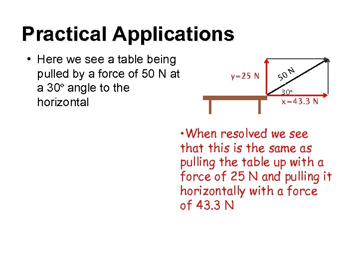 Practical Applications • Here we see a table being pulled by a force of