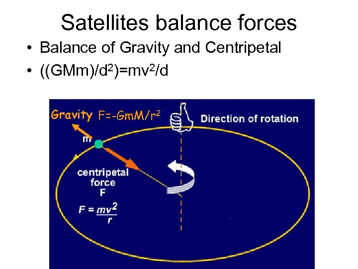Satellites balance forces • Balance of Gravity and Centripetal • ((GMm)/d 2)=mv 2/d Gravity