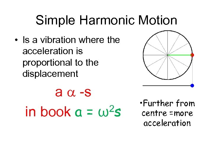 Simple Harmonic Motion • Is a vibration where the acceleration is proportional to the