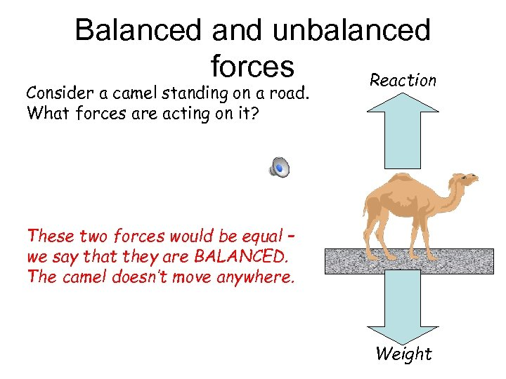 Balanced and unbalanced forces Reaction Consider a camel standing on a road. What forces