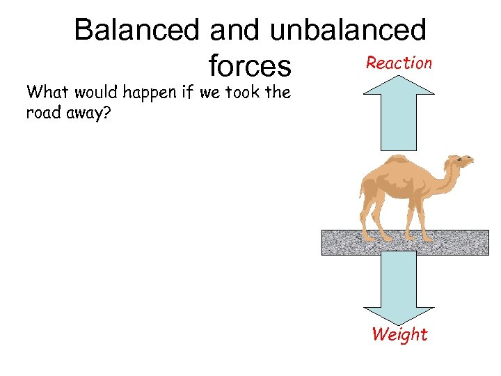 Balanced and unbalanced Reaction forces What would happen if we took the road away?