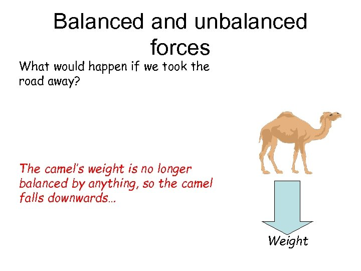 Balanced and unbalanced forces What would happen if we took the road away? The