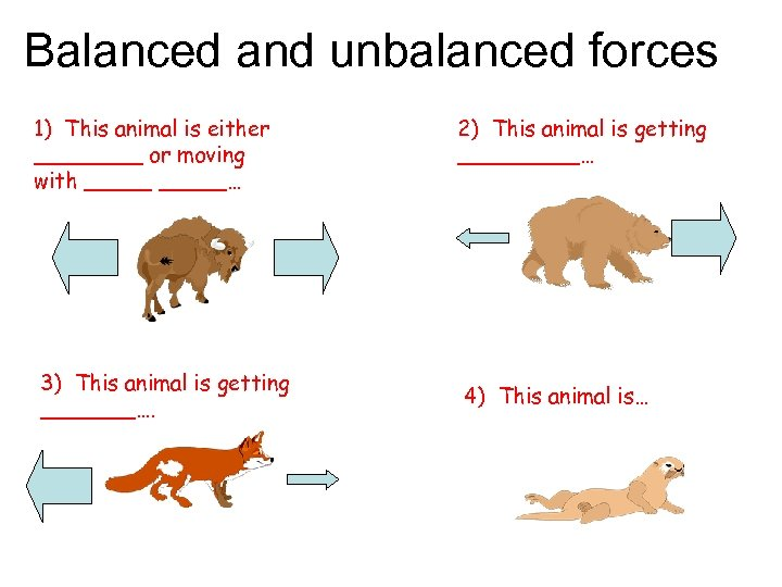 Balanced and unbalanced forces 1) This animal is either ____ or moving with _____…