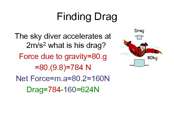 Finding Drag The sky diver accelerates at 2 m/s 2 what is his drag?