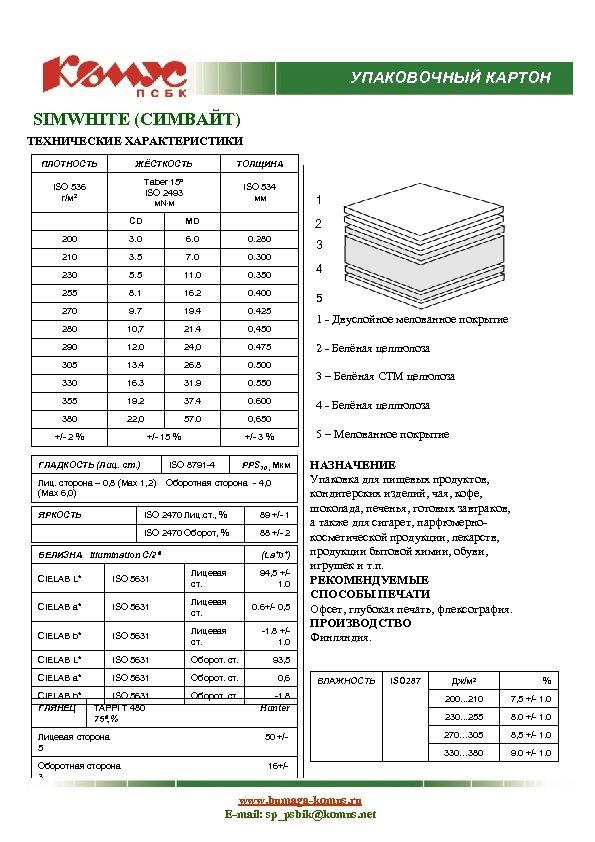 УПАКОВОЧНЫЙ КАРТОН SIMWHITE (СИМВАЙТ) ТЕХНИЧЕСКИЕ ХАРАКТЕРИСТИКИ ПЛОТНОСТЬ ЖЁСТКОСТЬ ТОЛЩИНА ISO 536 г/м 2 Taber