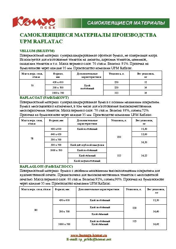 САМОКЛЕЯЩИЕСЯ МАТЕРИАЛЫ ПРОИЗВОДСТВА UPM RAFLATAC VELLUM (ВЕЛЛУМ) Поверхностный материал суперкаландрированная офсетная бумага, не содержащая