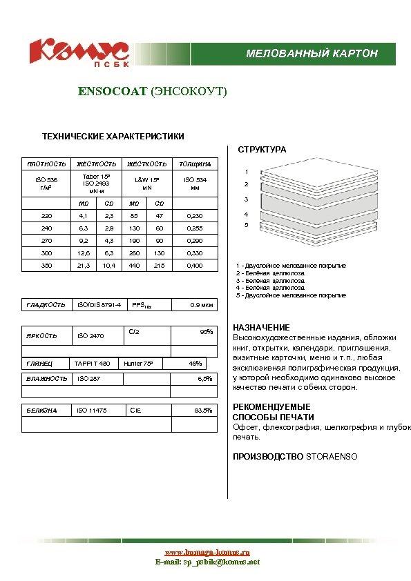 МЕЛОВАННЫЙ КАРТОН ENSOCOAT (ЭНСОКОУТ) ТЕХНИЧЕСКИЕ ХАРАКТЕРИСТИКИ СТРУКТУРА ПЛОТНОСТЬ ЖЁСТКОСТЬ ISO 536 г/м 2 Taber
