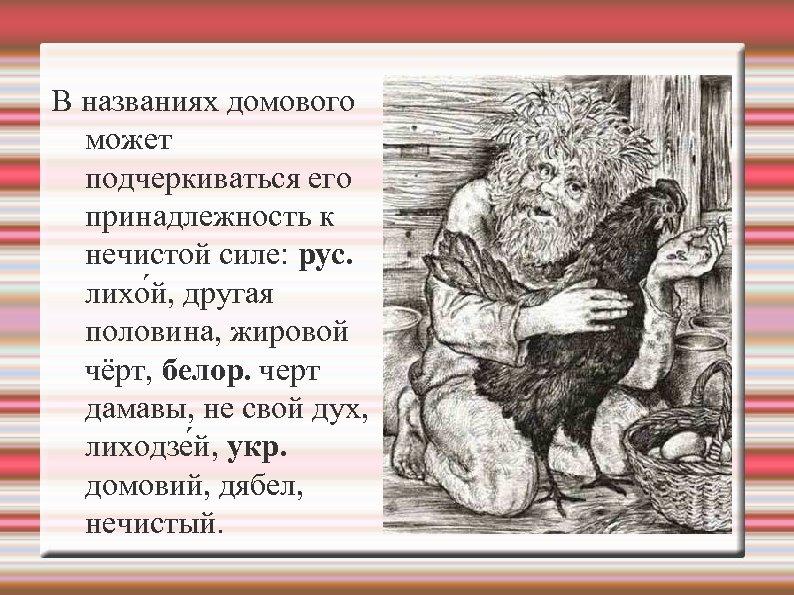 В названиях домового может подчеркиваться его принадлежность к нечистой силе: рус. лихо й, другая