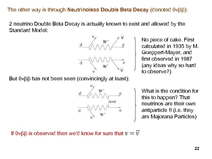 The other way is through Neutrinoless Double Beta Decay (denoted 0 vββ): 2 neutrino
