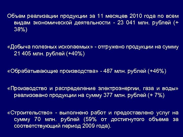 Объем реализации продукции за 11 месяцев 2010 года по всем видам экономической деятельности -