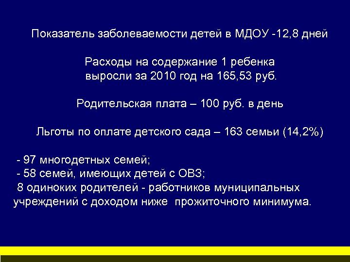 Показатель заболеваемости детей в МДОУ -12, 8 дней Расходы на содержание 1 ребенка выросли