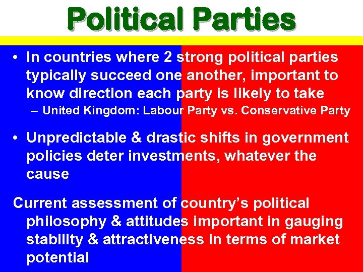 Political Parties • In countries where 2 strong political parties typically succeed one another,