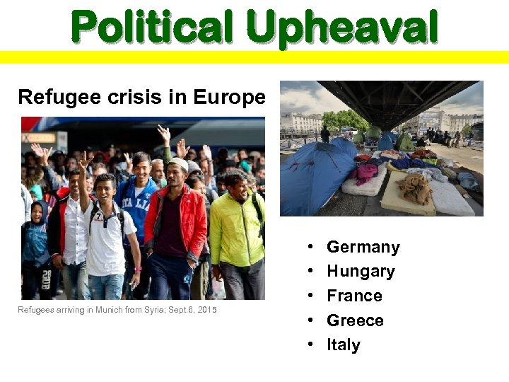 Political Upheaval Refugee crisis in Europe Refugees arriving in Munich from Syria; Sept. 6,