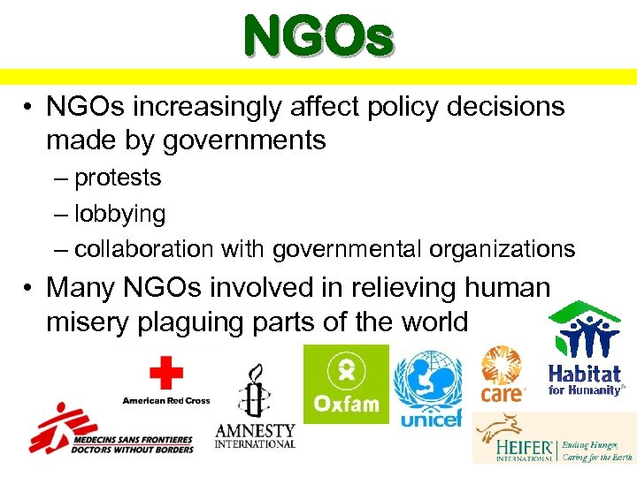 NGOs • NGOs increasingly affect policy decisions made by governments – protests – lobbying
